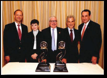 (From left)Christopher A. Viehbacher,Névine Zariffa(AstraZeneca),Dr. Gregory Curt(AstraZeneca),Dr. Howard Scher(Memorial Sloan Kettering Cancer Center),Coach Mike Krzyzewski(Duke University Men's Basketball)